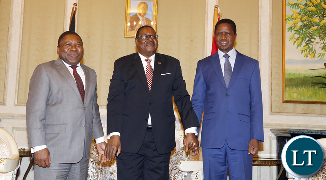 President Lungu with Mozambaque and Malawian Leader