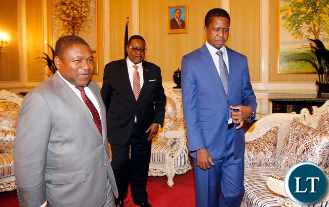 President Lungu with Mozambique and Malawian Leader