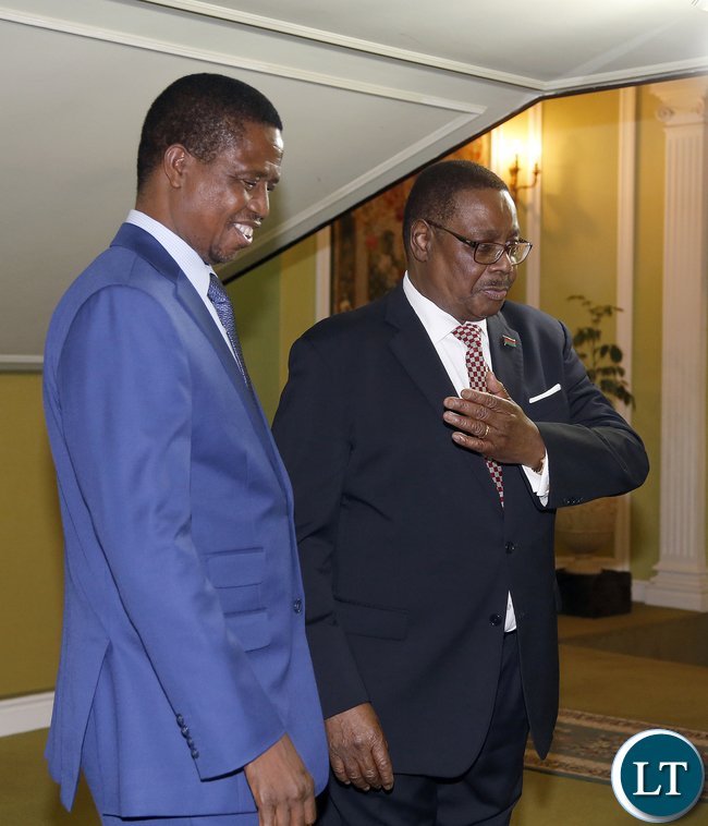 President Lungu with Prof Mutharika at Kamuzu Place before the Official Talks