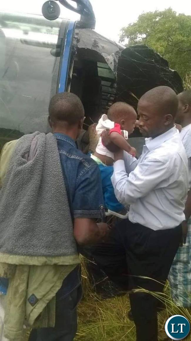 Victims being rescued from the wreckage of the bus