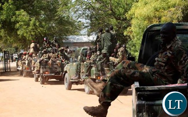 Zambia Army soldiers enter Matero township this morning