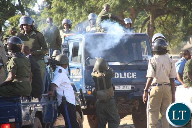 Zambia Police officers in action