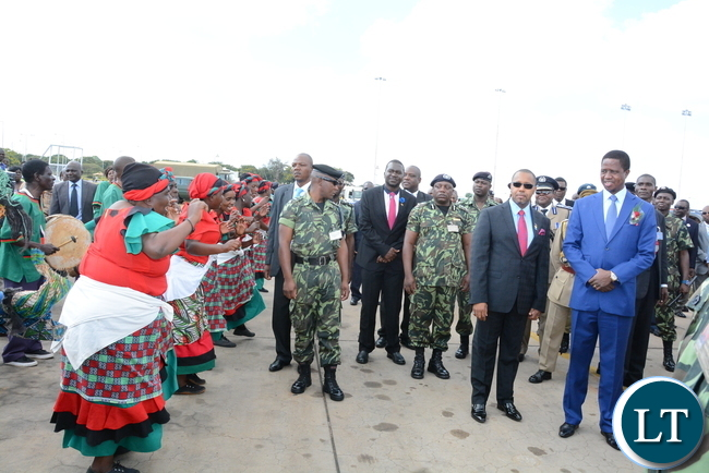 President Lungu Vice-President of Malawi,Dr.Saulos Chilima watching Malawian traditional dancing troupe on arrival International Airport