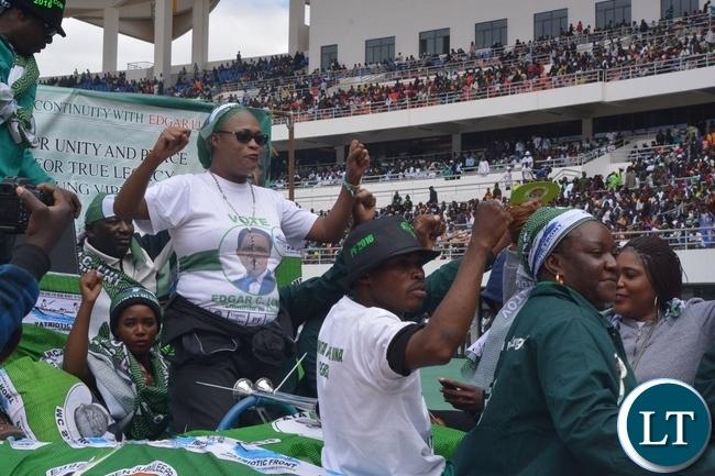 Mumbi Phiri(c) during the launch of the PF campaign at Heroes Stadium