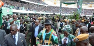 President Lungu arrives with the Vice President Inonge Wina at the PF 2016-2021 manifesto at the lunch of PF Campaign in the Heroes Stadium