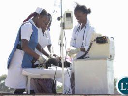 Lewanika General Hospital who won the best display award displaying during the 2016 Labour Day Celebrations at Mongu stadium