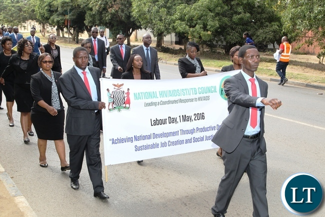 Zambia National HIV/AIDS/STI/TB Council first time participating in Labour Day celebrations theme: Achieving National Development Through Productive Decent Work Sustainable Job Creation and Social Justice