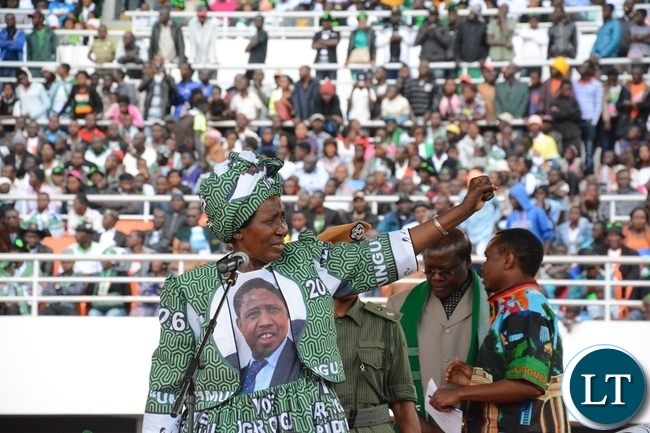 Vice President Inonge Wina show part Symbol at the lunch of PF Campaign in the Heroes Stadium