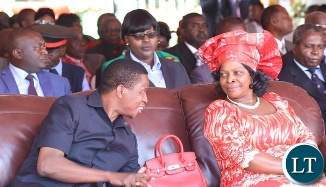 President Edgar Lungu(l) and his First Lady Esther Lungu(r) during the celebration of Africa Freedom day at State House