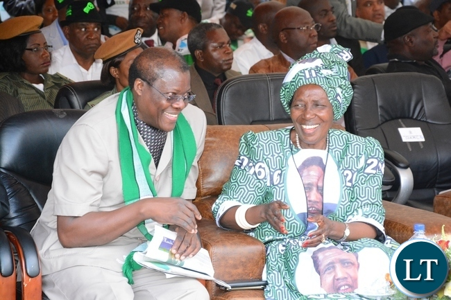 Vice President Inonge Wina and Justice Minister Ngosa Sibyakula share light moment at the lunch of PF Campaign in the Heroes Stadium