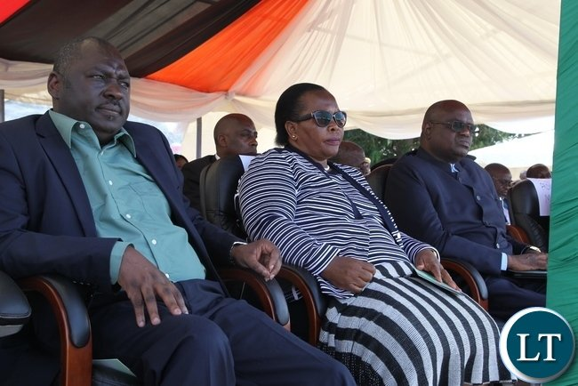 PF Secretary General Davies Chama (l) Chief Justice Irene Mambilima (c) and Speaker of the National Assembly Patrick Matibini following the Proceedings on Labour Day celebrations