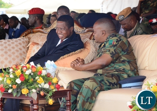 President Edgar Lungu and ZAF Commander Eric Chimese during official the ground breaking ceremony of ZAF twin Palm Public Private Partnership Project on Support Social Amenities and Commercial Facilities whilst Lt Muwindwa Liusha helps at the launch