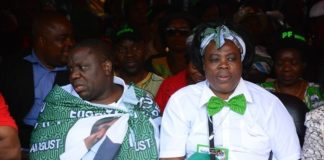 Foreign Affairs Minister Harry Kalaba and Tourism Minister Jean Kapata follows the proceedings at the lunch of PF Campaign in the Heroes Stadium y
