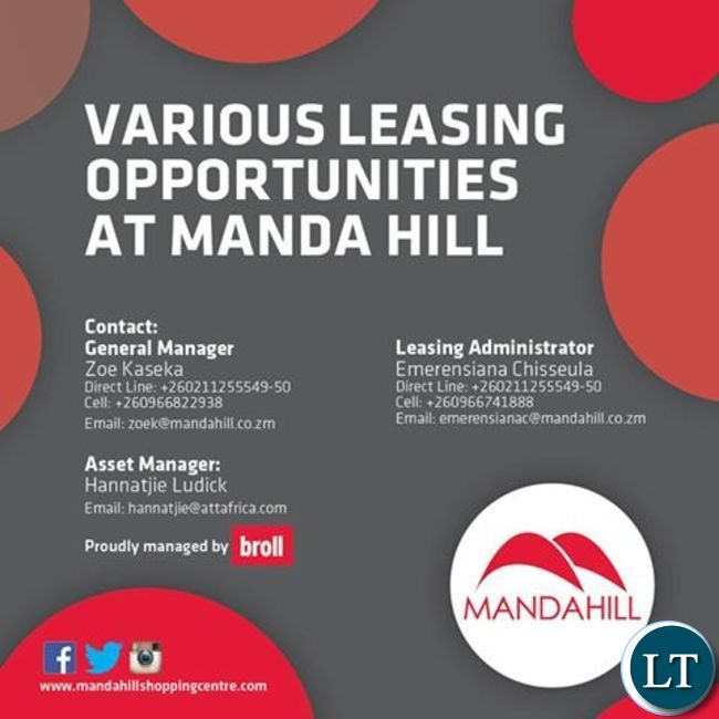 A poster advertising rental spaces at Manda Hill