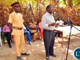 Chief Mwansabombwe speaking during the launch of a campaign against early marriages