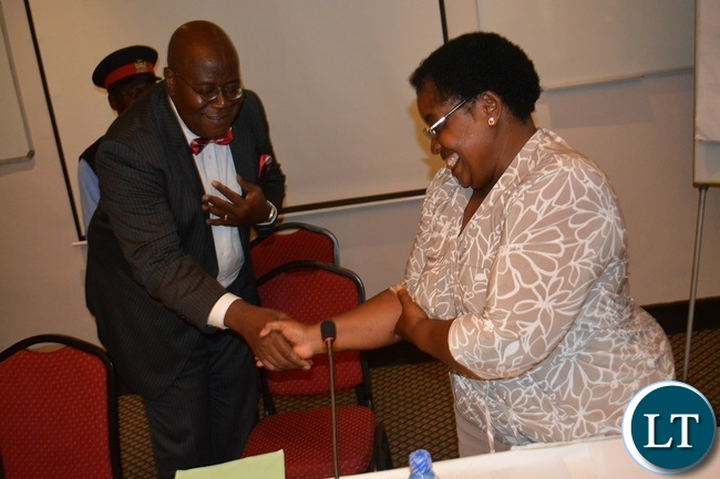 Southern Province Permanent Secretary Sibanze Simuchoba (left) and Independent Broadcasting Authority (IBA) Board Member Hilda Akekelwa (right) during a media workshop for Southern Province journalists in Livingstone