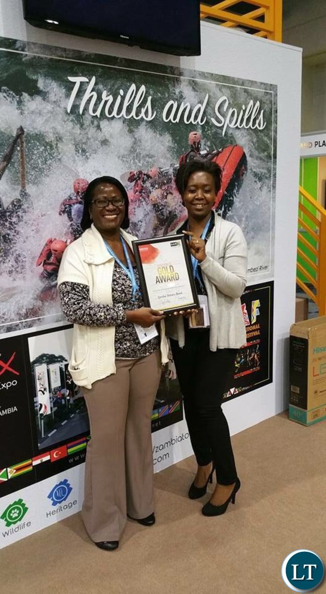 First Secretary in charge of Tourism at the Zambian High Commission, Mrs. Patricia Muyamwa with Mrs. Helga Sakala from the Department of National Parks and Wildlife