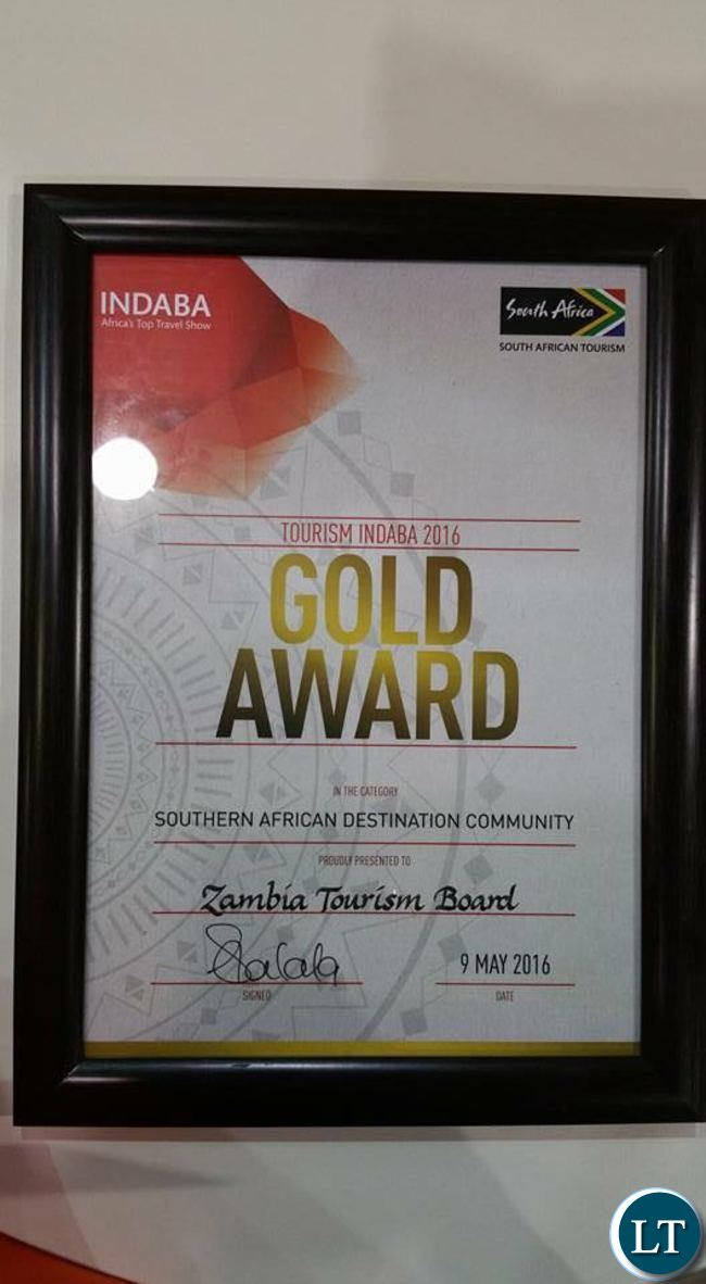 The award presented to Zambia at the 2016 Tourism Indaba in Durban, South Africa.