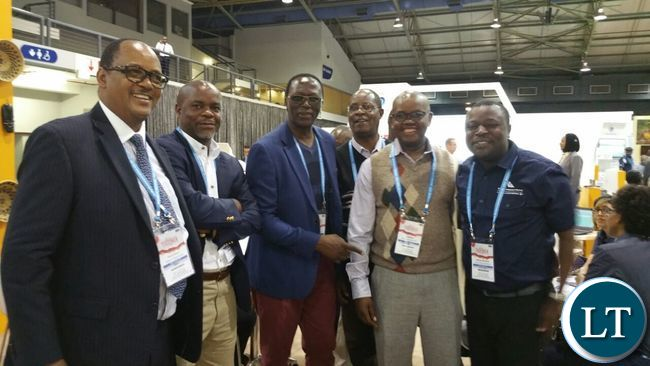 Zambia Tourism Agency Managing Director, Felix Chaila (extreme left) with officials at the 2016 Tourism Indaba in Durban.