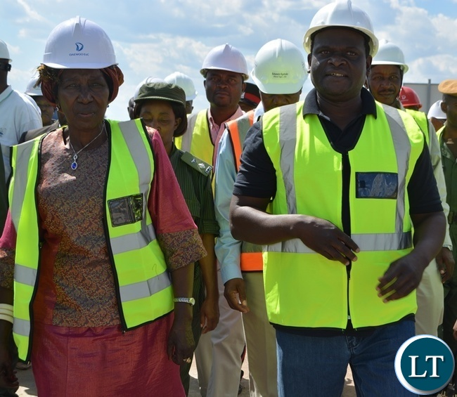 Vice President Inonge Wina inspecting the construction of Kazungula Bridge across Zambezi River