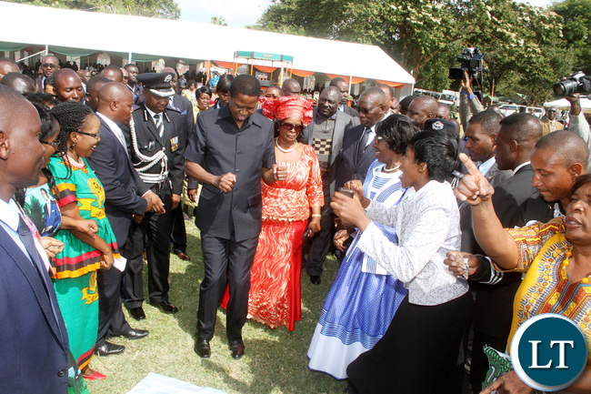 President Edgar Lungu could not resist the music by PF choir during the African Freedom Day Celebrations at State House on Wednesday, May 25,2016 -Pictures by THOMAS NSAMA
