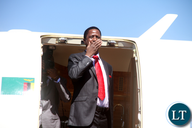 President Lungu at Kenneth Kaunda International Airport  shortly before Departure for Saudi Arabia on Monday, May 16,2016 -Picture by THOMAS NSAMA