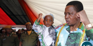 President Edgar Lungu in PF Salute with Peace Francis Cheembe at PF Launch 2016 at Heroes Stadium