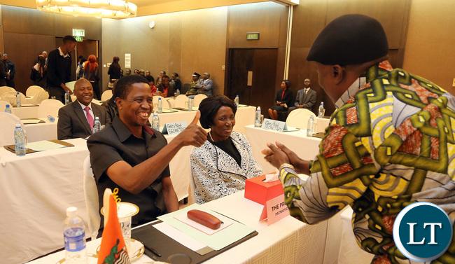 President Lungu Greets Green Party President Peter Sinkamba