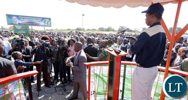President Lungu address Pf Supporters at Ndola Airport