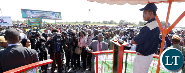 President Edgar Lungu address Supporters in Ndola at Simon Mwansa Kapwepwe Airport - Picture By Eddie Mwanaleza/Statehouse..04th May 2016.