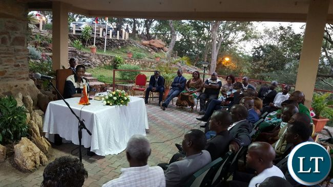 President Lungu addressing the PF provincial leadership in Kitwe