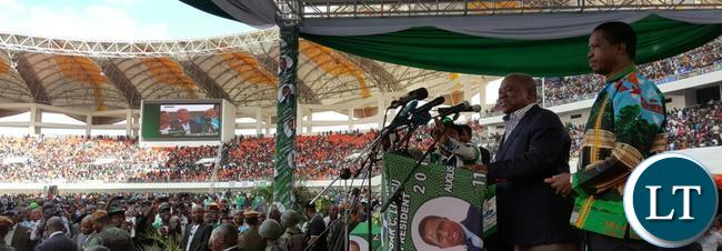 President Lungu and Rupiah Bwezani Banda the fourth  President at the PF campaign launch at the heroes stadium Lusaka