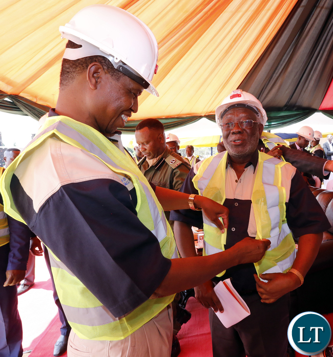 President Lungu at NAPSA Freedom Park Mall Ground Breaking Ceremon with Mr Shamende- Picture by Eddie Mwanaleza/Statehouse.