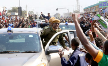 President Lungu drive through Lusaka street