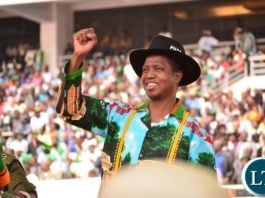 President Lungu gestures at the PF campaign launch rally