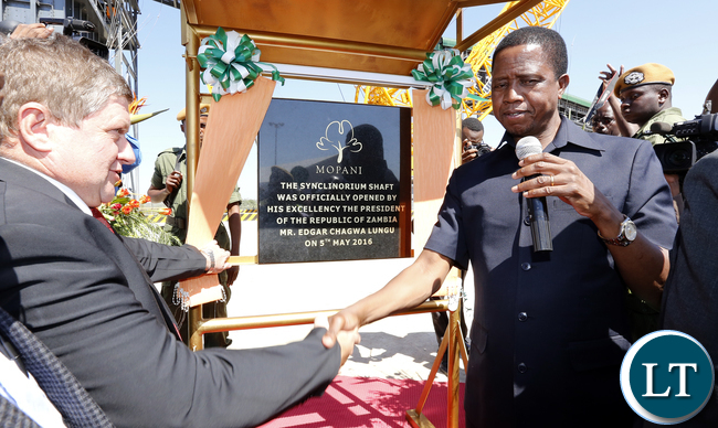 President Lungu with Mr Jonan Jansen CEO Officer at Mopani Unveiling of the Synchlinorium Shaft launch - Picture by Eddie Mwanaleza