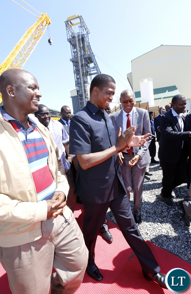 President Lungu with Mr Richard Musukwa Deputy Minister of Mines at Mopani - Picture by Eddie Mwanaleza