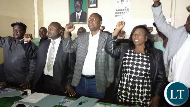 The PF leadership at the news conference