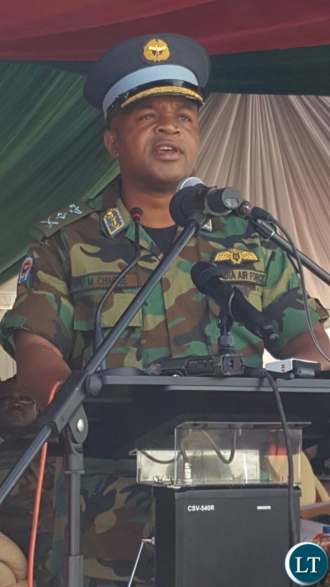 ZAF Commander Brig General Erick Chimense speaking during the ground breaking ceremony