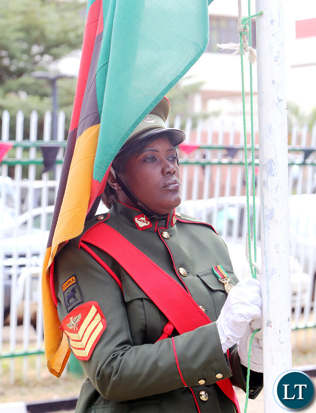 Zambia Soldier Flag hoisting Ceremony at Freedom Statue