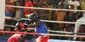 Young Pugilists slug it out an under-15 Samsung Boxing Youth Sport Challenge staged at the Olympic Youth Development Centre