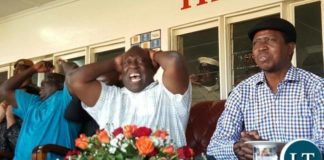 Copperbelt Minister Menye Musenga , Chishimba Kambwili watching a football match over the weekend