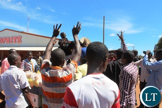 Opposition Poor People's Party  President Alex Mulyokela when he conducted a series of one to one talk with electorates on the streets of  Kasama in order to woe voters for the August 2016 general election. Picture by Mary Bwembya (ZANIS)