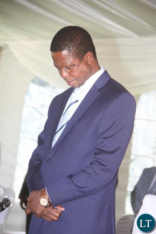 President Lungu prays before he addresses the Press Conference at State House on Friday, May 13,2016 -Picture by THOMAS NSAMA
