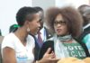 "President Lungu""s daughter Tasila Lungu(l) talks to Mumbi Phiri(r) during the Presidential Nominations at Mulungushi conference center"