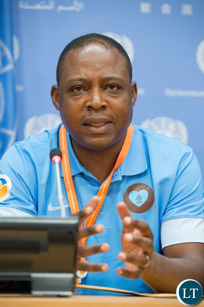 Football legend Kalusha Bwalya (Zambia) addressing a press conference at United Nations Headquarters in New York USA on Thursday 16 June 2016 ahead of the Permanent Representatives' football tournament to promote peace and development. The Permanent Missions of Zambia and The Netherlands co-organised the tournament and the press conference. UN Photo/Eskinder Debebe