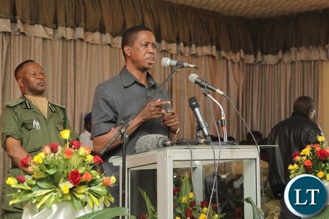 President Edgar Lungu Addressing the congregants at Kabundi Kapisha UCZ Congregation Church in Chingola
