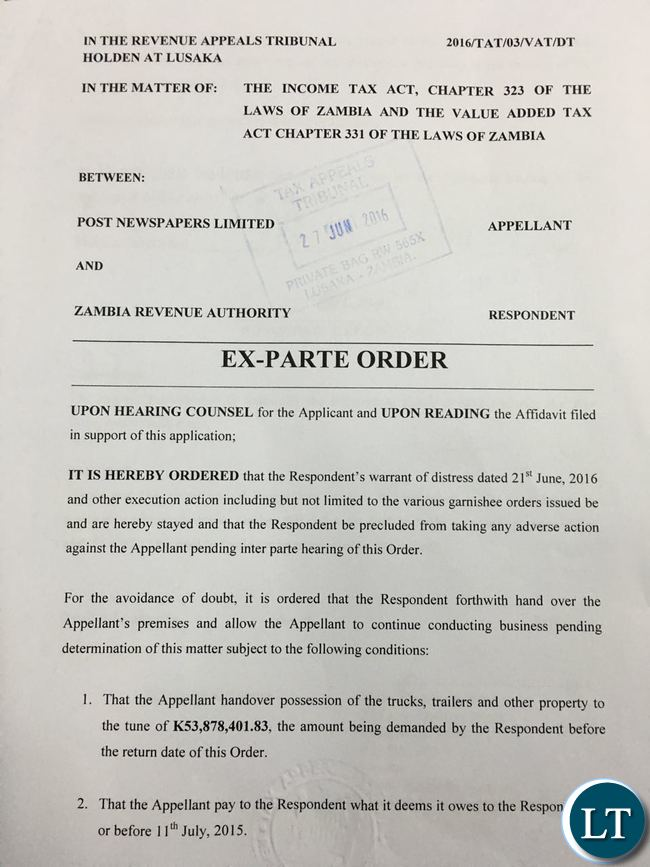 Copy of the Exparte Order
