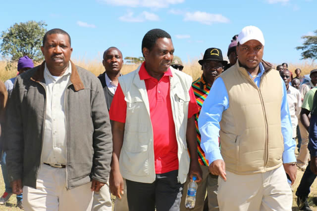 UPND president Hakainde Hichilema and UDF President Miles Sampa on the campaign trail in  Chilubi Constituency  Northern Province