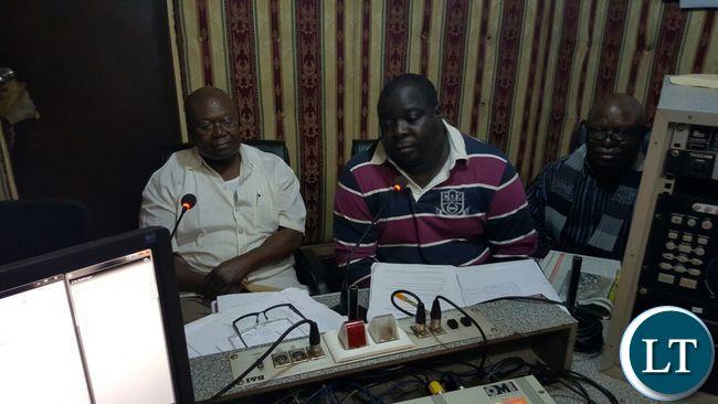 Mr Kambwili during a radio programme at Radio Mano with Provincial Chairman Felix Mfula